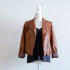 Forever 21 Leopard Lined Faux Leather Jacket